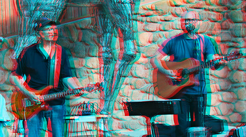 Bob and Ryan Spadafora Playing Music at Zoo Brew. Image has 3D effect as a nod to their band name - Seein' Double.